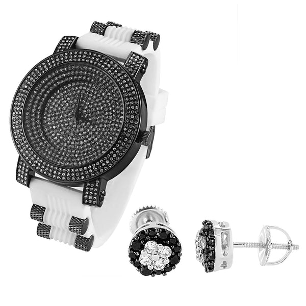 Hip Hop Black & White Iced Out Bullet Band Watch & Earrings Combo Set