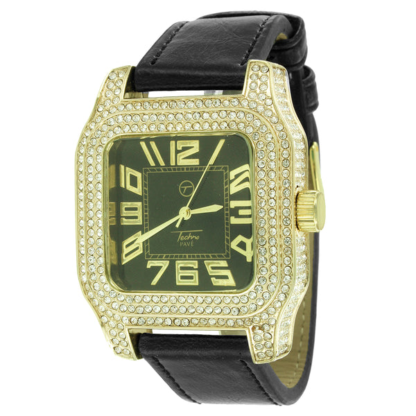 14k Gold Finish Iced Out Square Dial Techno Pave Leather Band New Watch