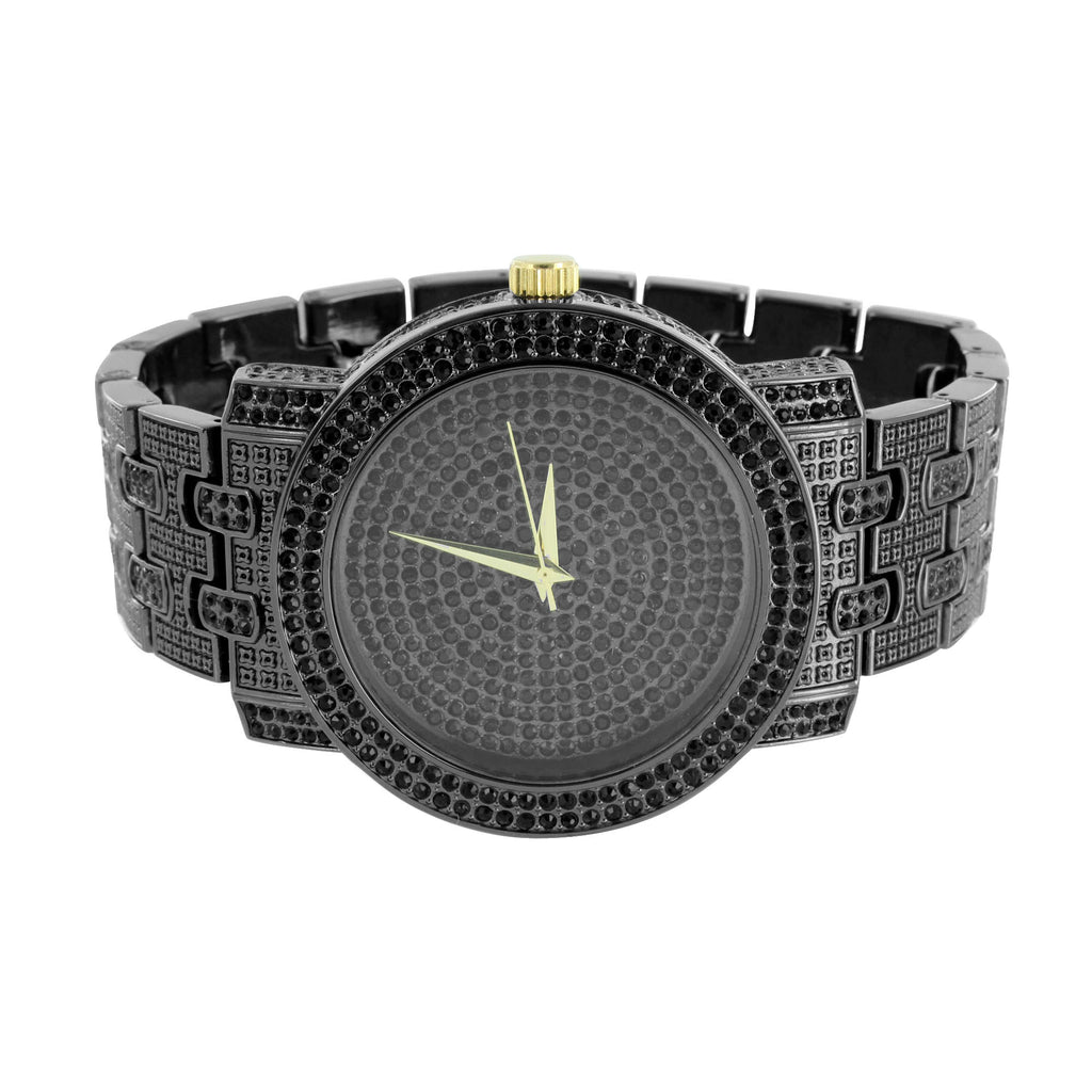 Black Finish Mens Watch Fully Iced Out Hip Hop Bling Master Of Bling