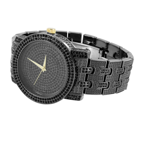 Black Finish Mens Watch Fully Iced Out Hip Hop Bling