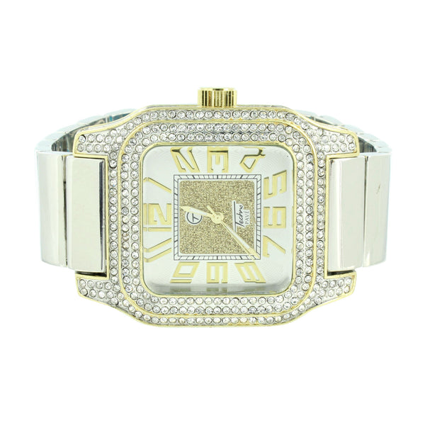 2 Tone Watch Stretch Band Square Face Icy