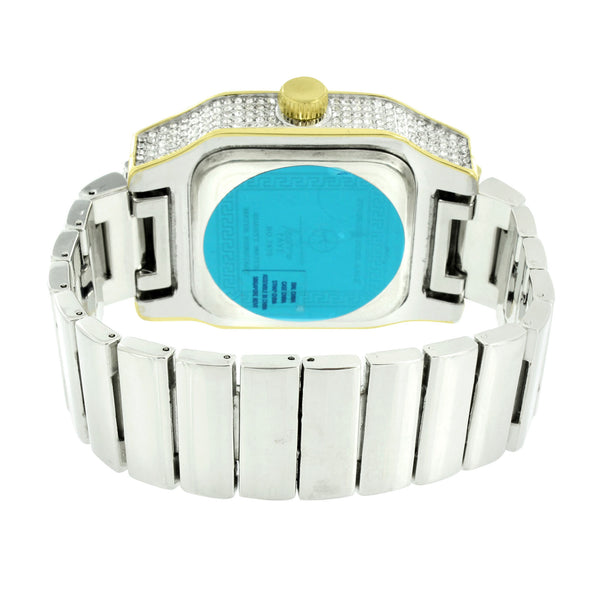 2 Tone Watch Stretch Band Square Face Iced Out