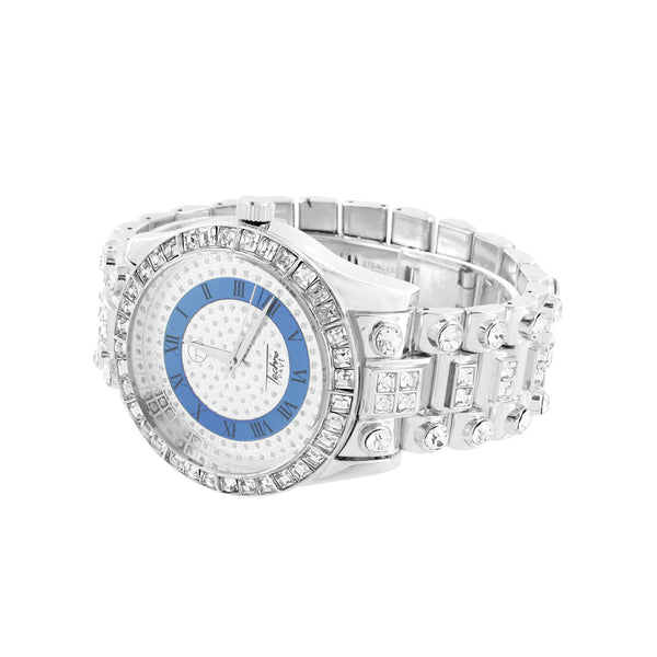 Iced Out Mens Watch Princess Round Cut Simulated Diamonds Joe Rodeo Jojino 46 MM