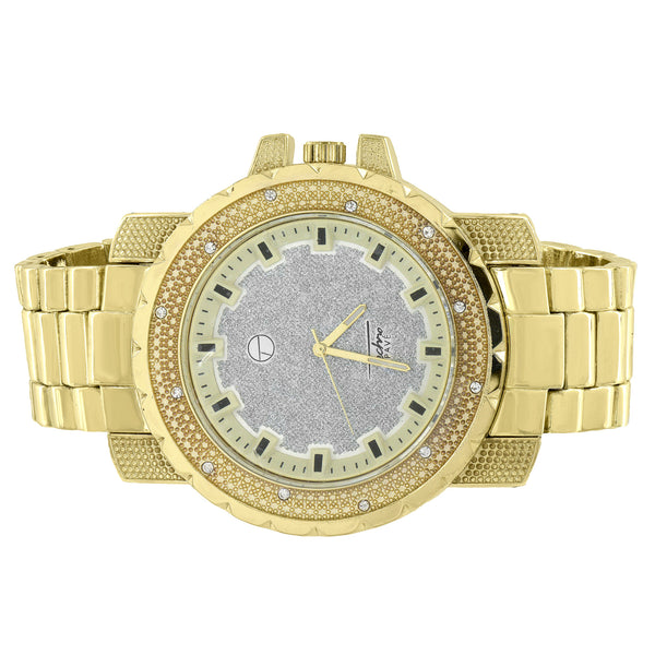 Gold Plated Watch Analog Illusion Dial Metal Band Techno Pave Custom Design 52MM