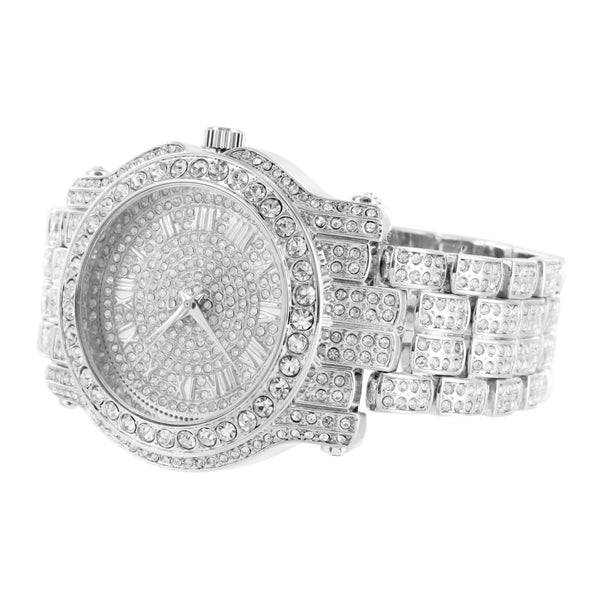 White Gold Tone Watch Bling Simulated Diamonds
