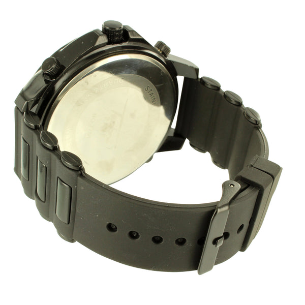 Techno Pave Mens Black Dial 4 Time Zone Silicone Bullet Band Watch