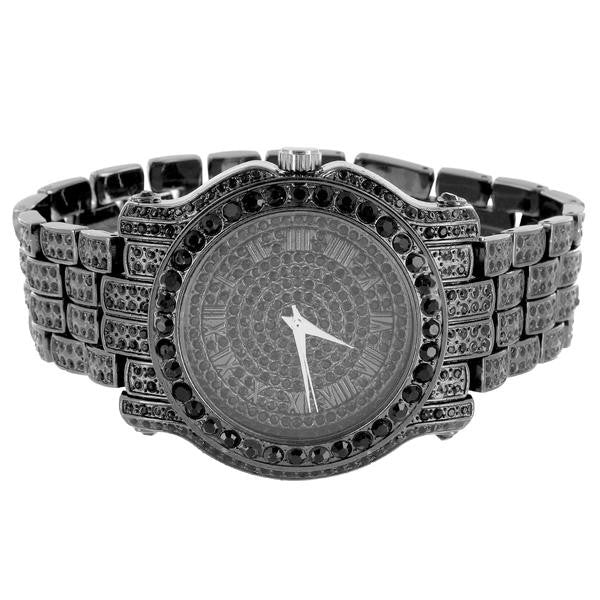 Men's Black Simulated Diamond Watch Iced Out Matching Bracelet Gift Set Analog Jojino