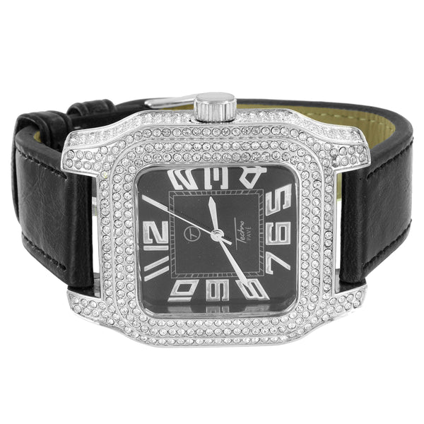 Techno Pave 14k Rhodium Finish Iced Out Square Dial Leather Band Designer Watch