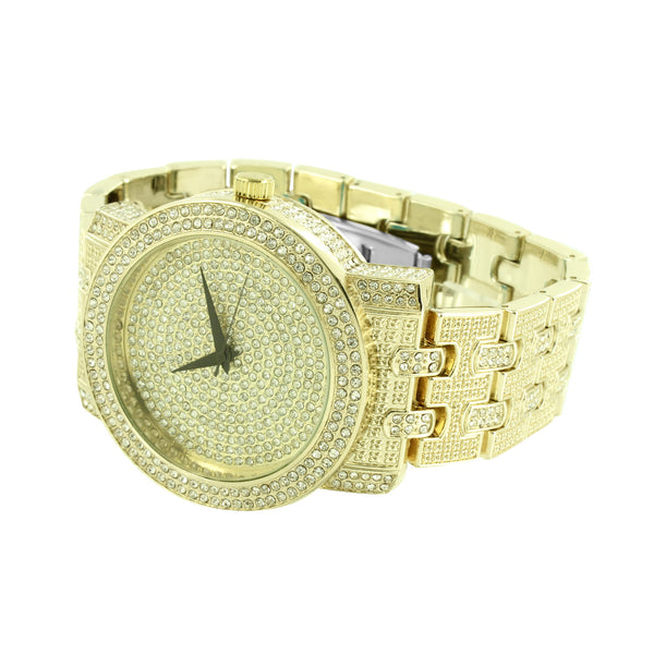Fully Iced Out Watch Gold Finish Mens