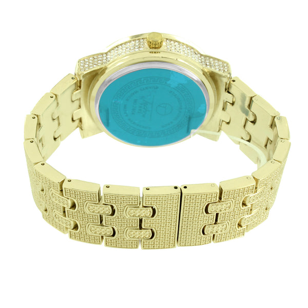 Fully Bling Watch Gold Finish Mens