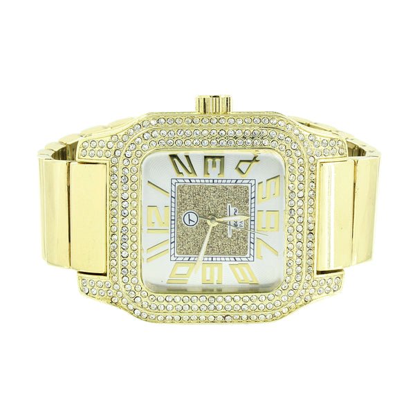 Silver Tone Dial Watch Stretch Band Square Face