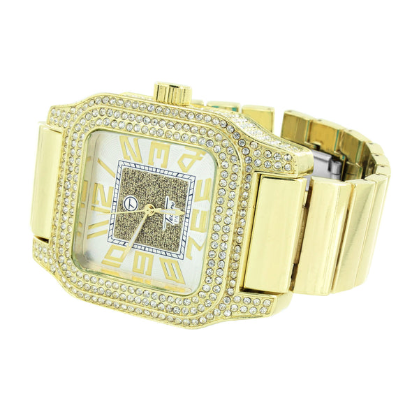 Silver Tone  Dial Watch Stretch Band Square Face Iced Out