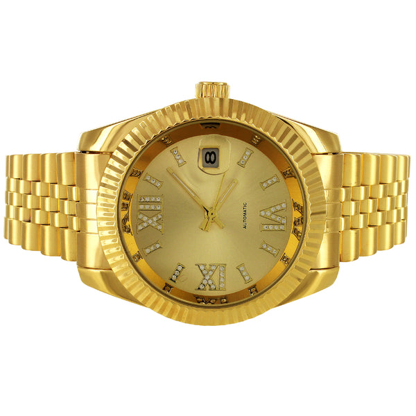 Gold Tone Stainless Steel Roman Icy Dial Date Fluted Bezel Watch