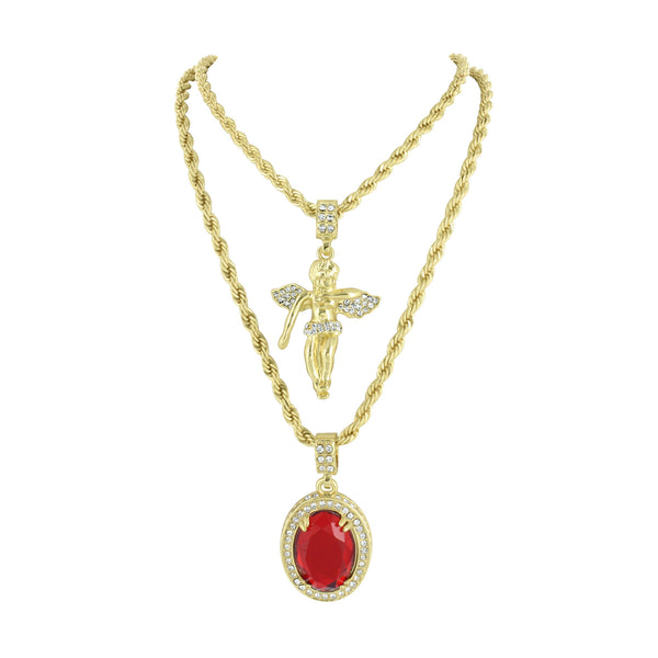Angel With Ruby Pendant Necklace Combo Set 14K Gold Finish Lab Diamond Hip Hop
