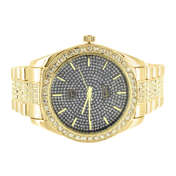 Black Face Simulated Diamond Techno Pave Yellow Finish Mens Watch