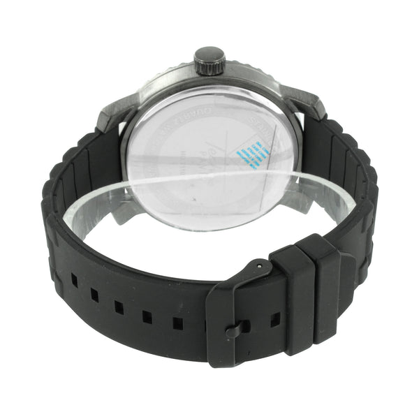 Watch Look Black Rubber Silicone Strap Analog Elegant