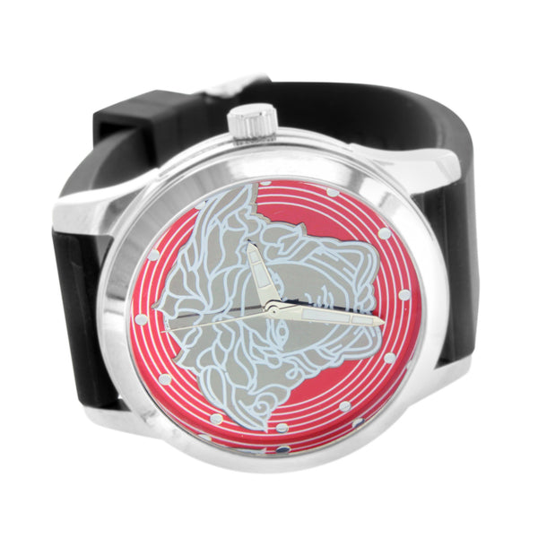 Medusa Dial Watch White Finish Silicone Black Band Red Silver Dial