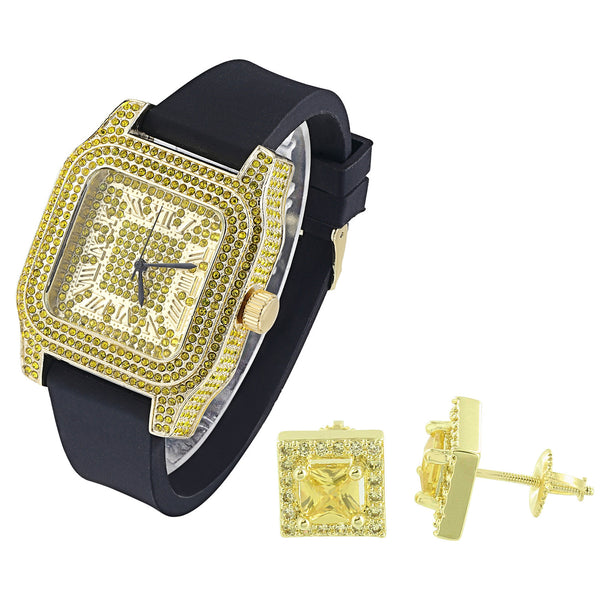 Hip Hop Yellow Canary Stones Iced out Watch with Matching Earrings Combo Set