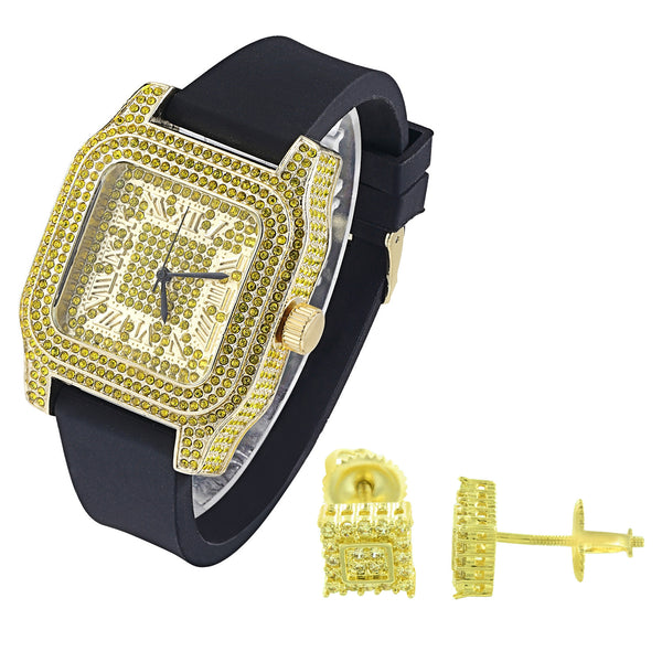 Men's Square Face 14k Yellow Canary Watch with Matching Earrings Combo Set