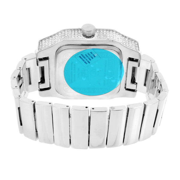 Silver Tone Watch Stretch Band Square Face Iced Out