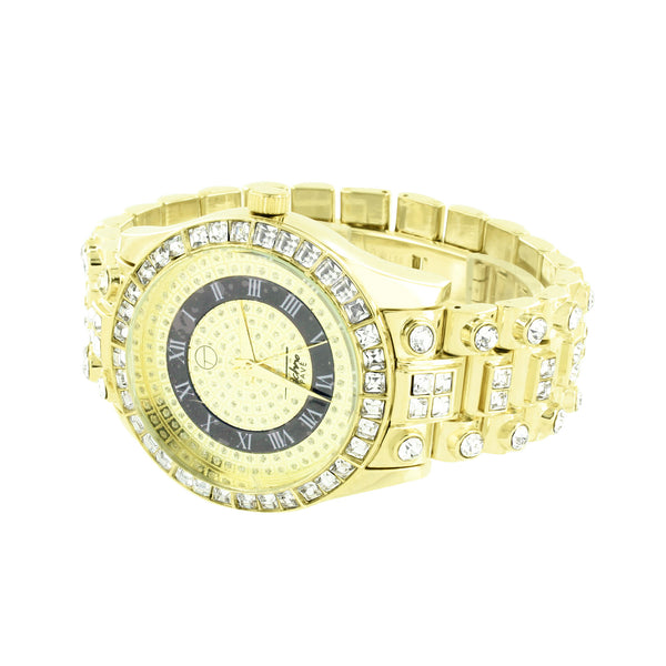 Mens Princess Cut Watch Simulated Diamonds Roman Numeral Hour Mark Gold Finish