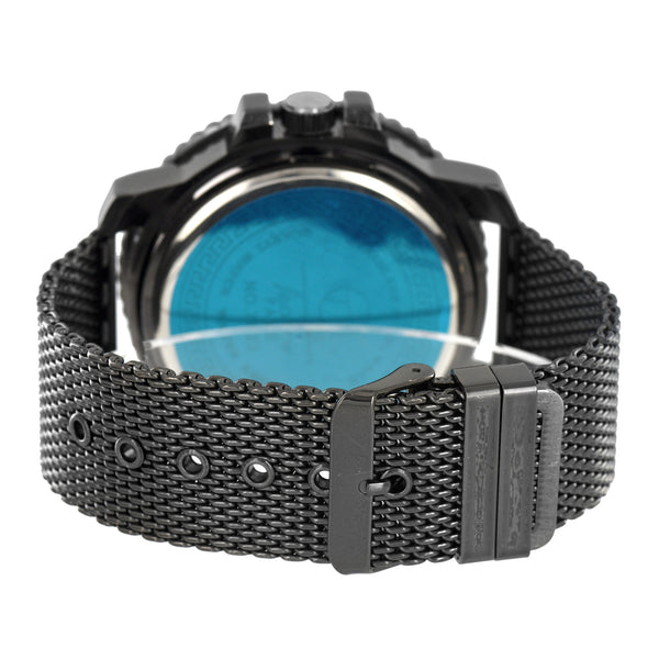 Mens Black Finish Watch Mesh Band Iced Out Black