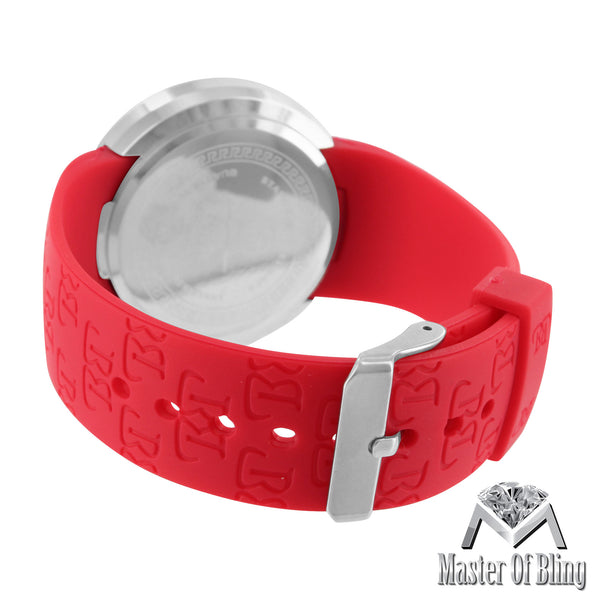Touch Screen Lab Diamond Red Silicone Band Techno Pave Watch