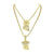 2 Piece Jesus Pendant Necklace Combo Set 14k Yellow Gold Finish