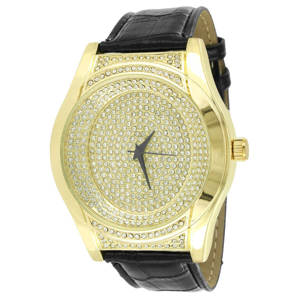 New Men's Custom  Face 14k Gold Finish Leather Band Watch New