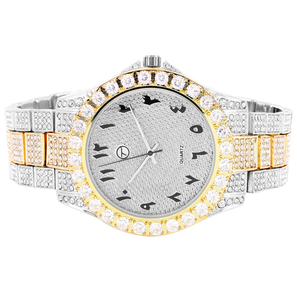 Two Tone 41MM Presidential Style Arabic Dial Solitaire Bezel Watch