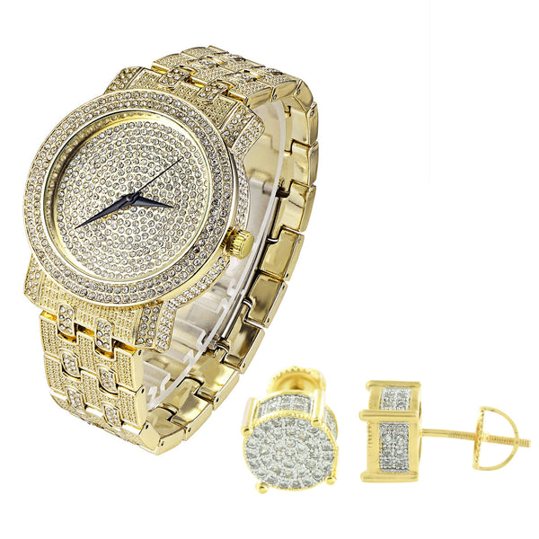Hip Hop Men's Gold Finish Iced out Watch and Earrings Combo Set