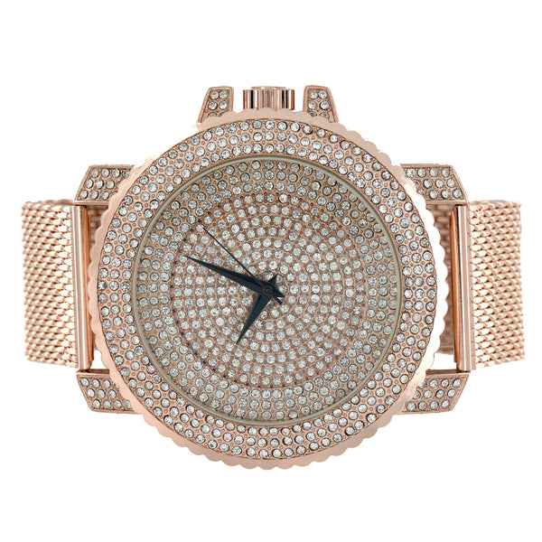 Rose Gold Finish Watch Iced Out Mesh Band Joe Rodeo
