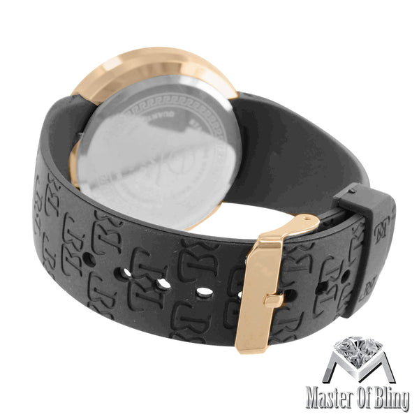 Gold Tone Lab Diamonds Techno Pave Touch Screen Digital Watch