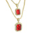 Garnet Ruby CZ Pendants Set Free Necklaces 14K Gold Finish