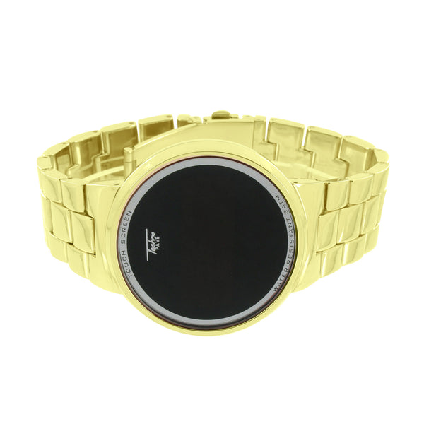 Gold Finish Smart Touch Screen Watch Techno Pave Digital Display