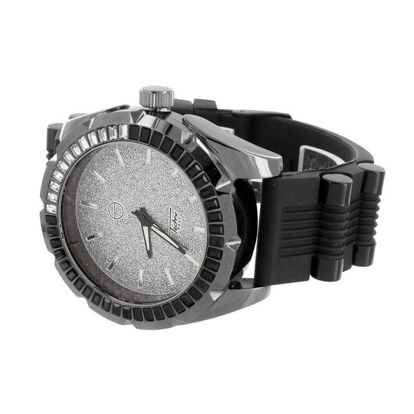 Iced Face Classy Designer Watch Techno Pave Bullet Band