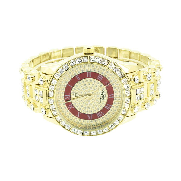 Red Gold Dial Watch Princess Round Cut CZ  Gold Finish Bling Hop Hop New
