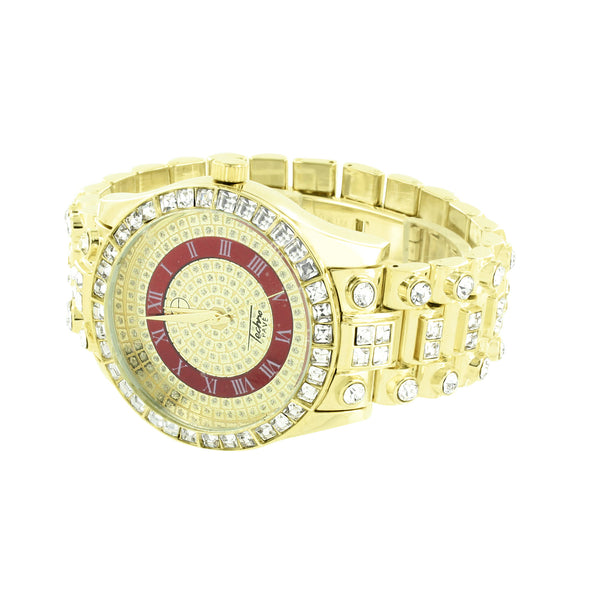 Red Gold Dial Watch Princess Round Cut CZ Iced Out Gold Finish Bling Hop Hop New