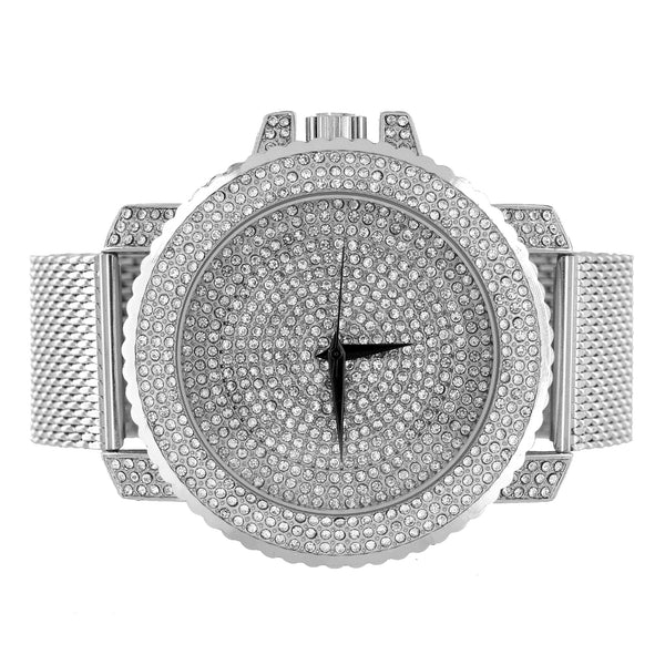 White Mesh Bracelet Watch Iced Out Face Case Analog