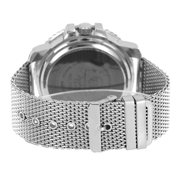 White Mesh Bracelet Watch Bling Face Case Analog