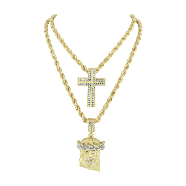 Jesus And Cross Pendant Necklace Gift Set 14k Yellow Gold Finish Men