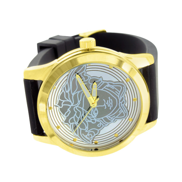 Medusa Face Round Watch Gold Finish Silicone Black Band