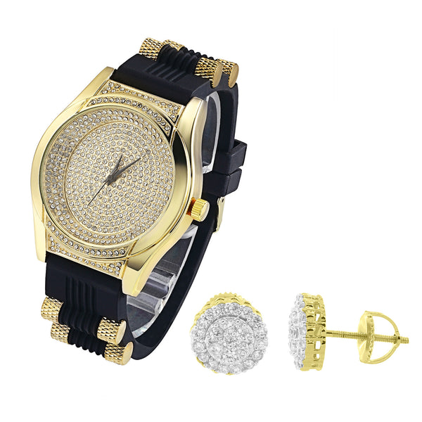 Oval Dial Lab Diamond Iced out Men's watch & Earrings Combo Set