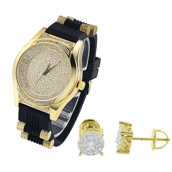 Oval Shape Lab Diamonds Iced Out Men's Silicone Strap Watch & Earrings Combo