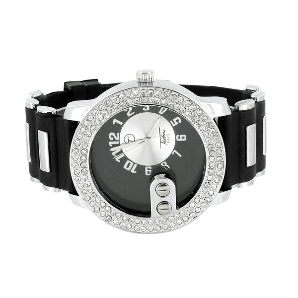 Mens Watch Black Dial White Stainless Steel Casing