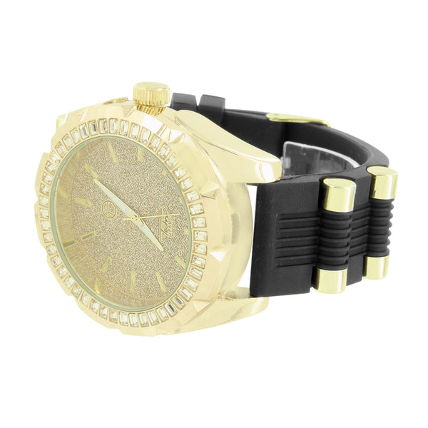 Yellow Gold Finish Techno Pave Watch Designer Iced Out