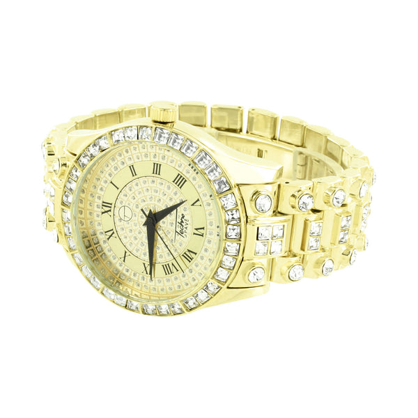 Gold Finish Watch Joe Rodeo Jojo Jojino Look Techno Iced Out Princess Cut Zircon