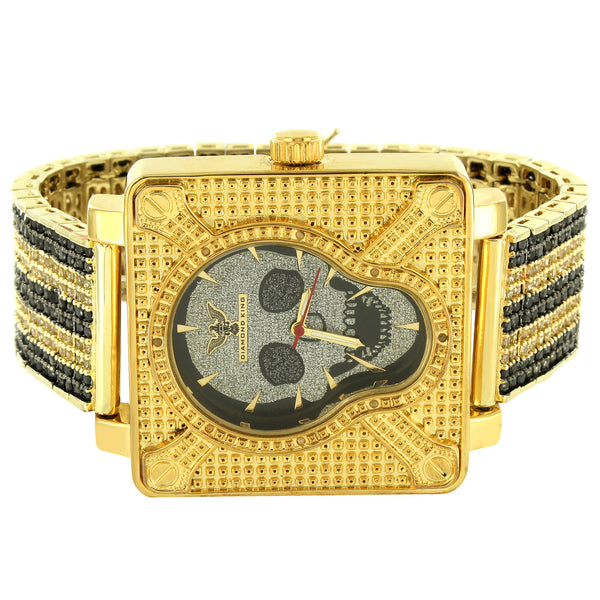 Men's Skull Face Designer Square  Watch with Custom Iced Out Black Yellow Band