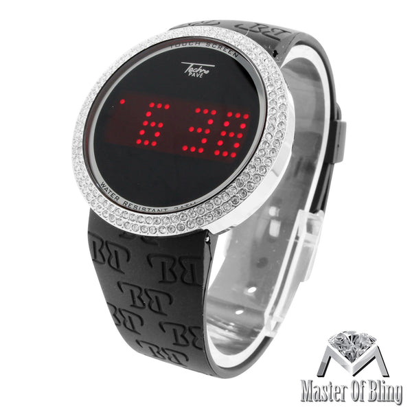 Touch Screen Digital Lab Diamond Bezel White Gold Tone Techno Pave Watch