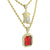 Ruby Jesus Pendant Necklace Set 14K Gold Finish Combo Set Men
